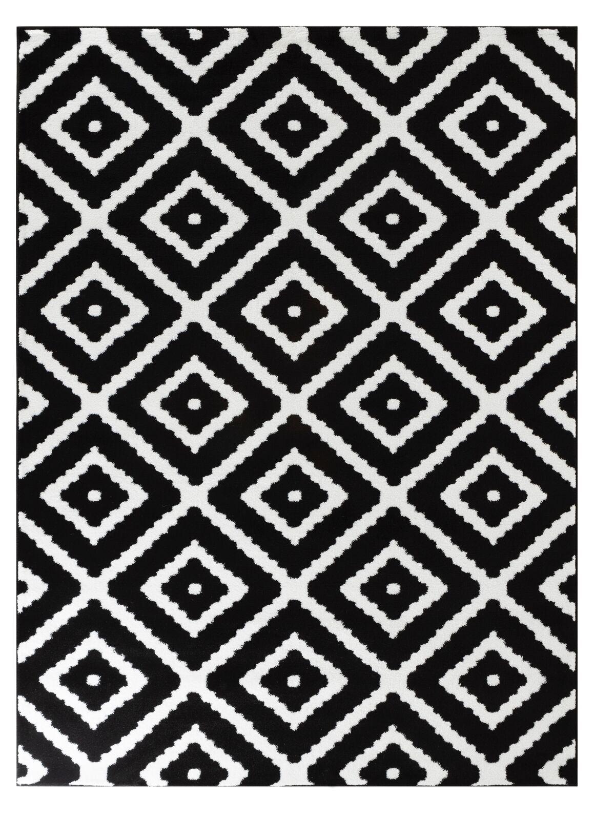 Summit 46 Black White Diamond Area Rug Modern Abstract Rug 5x8