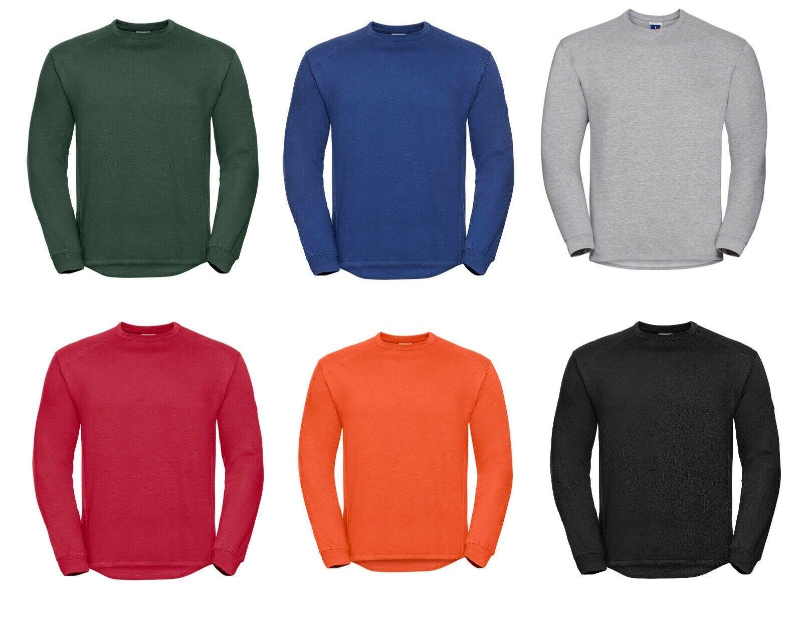 Mens Heavyweight Sweatshirt Russell Pullover Work Wear Winter Warm Plain Sweater