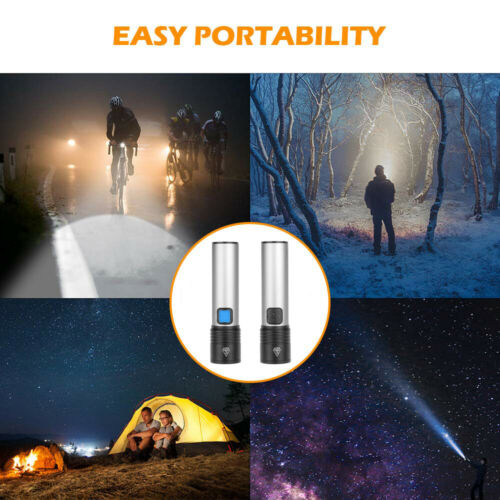 30000LM T6 Zoom LED Flashlight USB Rechargeable Torch Built-in Battery 4 Modes