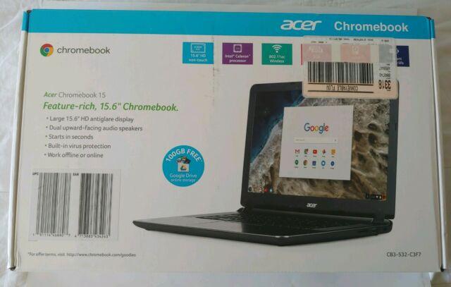 Acer CB3-532-C3F7 15.6 Chromebook Intel Celeron 2GB RAM 16GB eMMC, Original Box