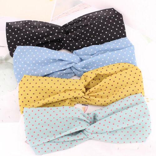 Fabric Dot Polka Dot Hair Band Fashion Cross Elastic Headband for Women Girls S