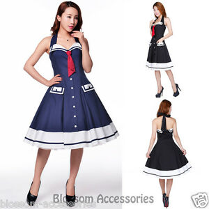 29d68059604a Image is loading RK103-Rockabilly-Sailor-Retro-Nautical-Costume-Dress-Pin-