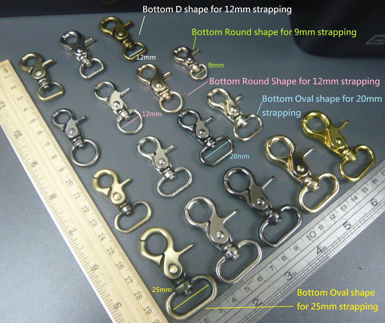 10PC Silver Swivel Trigger Clips Snap Lobster Clasp Hook Bag Key Ring Hooks BEST