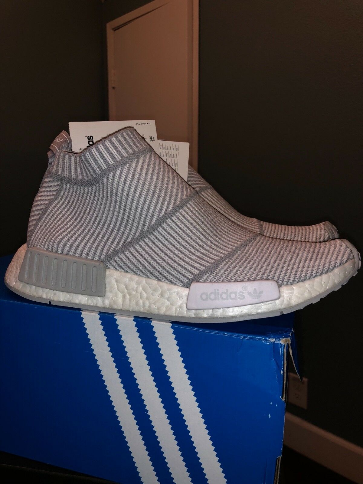 AUTHENTIC ADIDAS NMD CITY SOCK PK BOOST CS1 STYLE S32191 WHITE/GREY SIZE 6.5 MEN