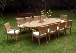 11 PC TEAK DINING SET GARDEN OUTDOOR PATIO FURNITURE POOL D4 - GIVA ARM DECK NEW