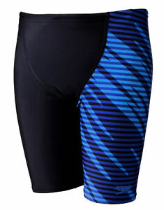ObéIssant Speedo Allover V Cut Panel Garçons Jammer Noir/chroma Blue Swim Shorts-afficher Le Titre D'origine