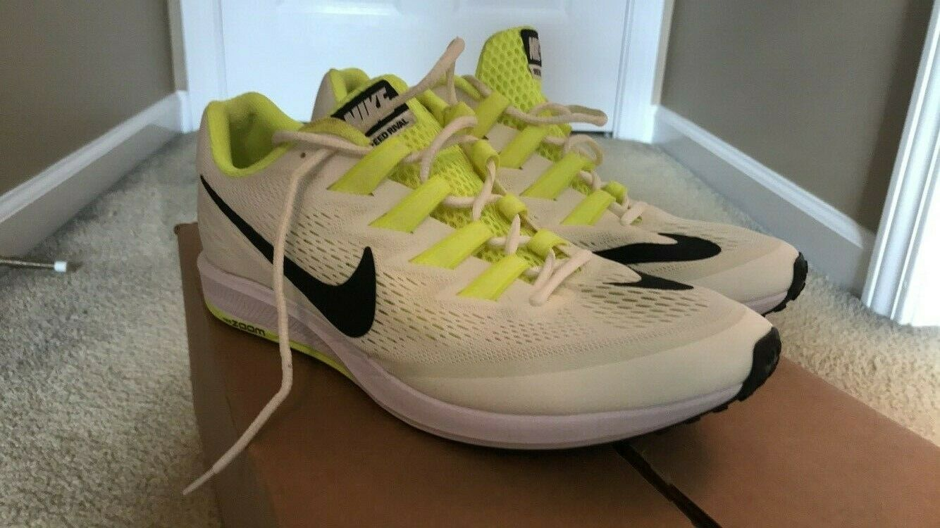 Nike Air Zoom Speed Rival Size 9.5 White and Fluo Yellow