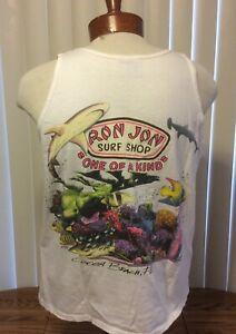 VTG-Ron-Jon-Surf-Shop-Cocoa-Beach-Sleeveless-T-Shirt-White-Single-Stitch-Large