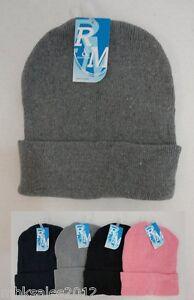 Bulk lot 24 Assorted Solid Color Winter Knit Toboggan Beanie Hats Caps 4 Colors
