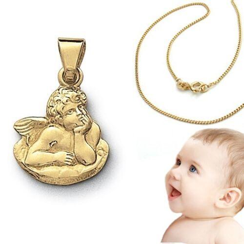 14 Kt mit Kette Silber 925 vergoldet Baby Taufe Schutz Engel Echt Gold 585