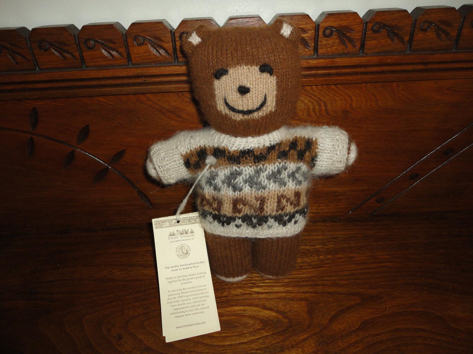 Minka Fair Trade Peru Alpaca Wool Knitted Bear Hand Spun Organic New 10 inch