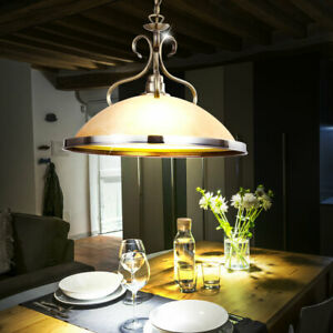 Lustre Ancien Suspension Luminaire Plafond Eclairage Verre Ambre