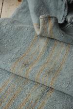 Grain Sack Gray Blue Linen Fabric GRAINSACK w/ khaki stripe 19th century textile