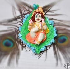Artist Haat Handmade Marble Dust Hindu God  Idol Krishna  with Colorful Painting