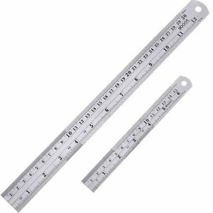 Details About Stainless Steel Ruler 6 And 12 Inch With Conversion Table Mm At The Back
