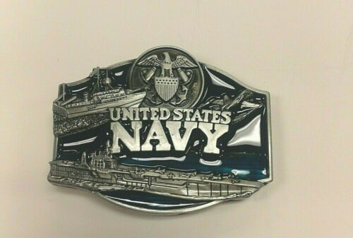 """US NAVY BELT BUCKLE PEWTER FINISH BUCKLE 3/"""" x 2 1//2/"""""""