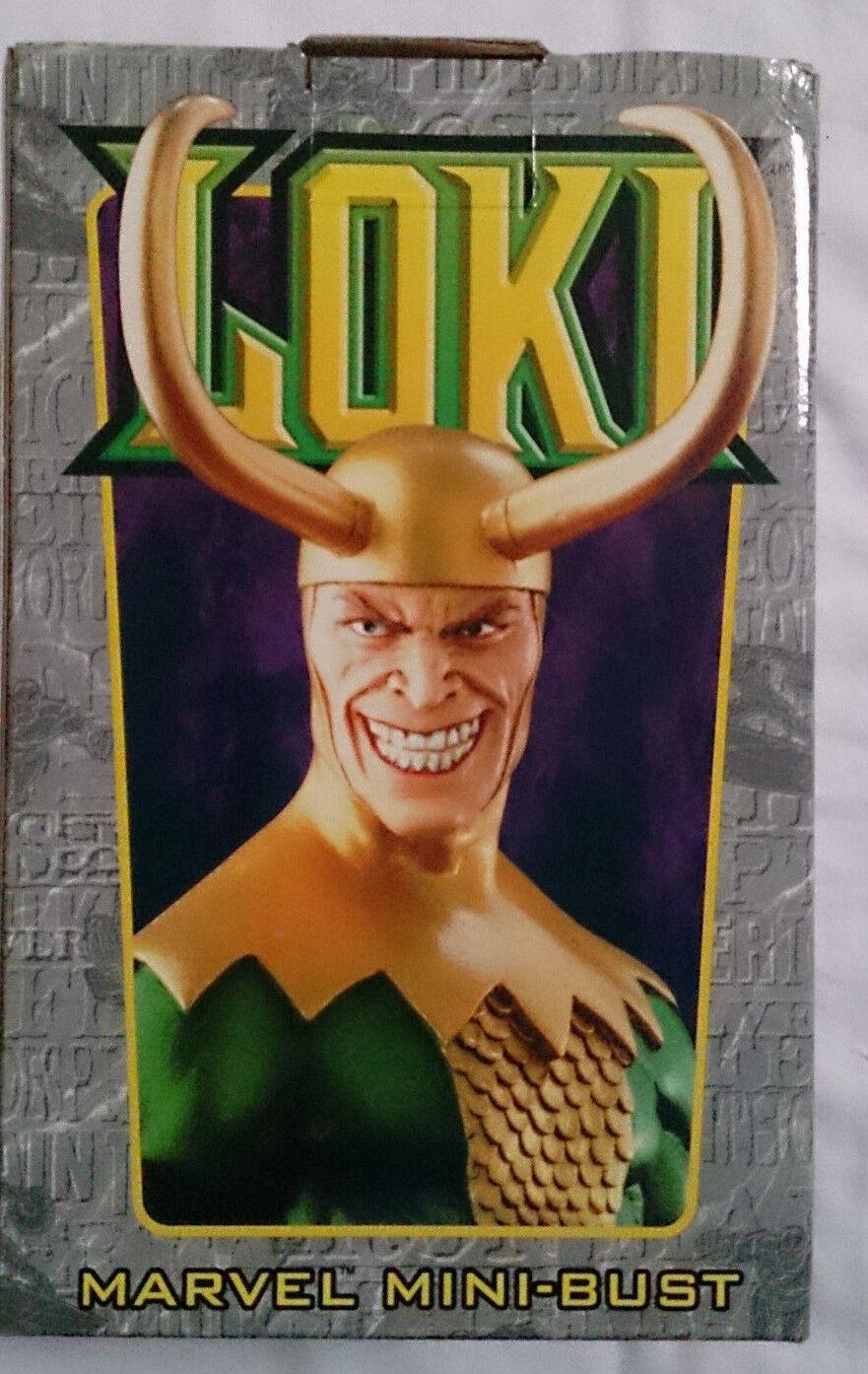 MARVEL COMICS Bowen Avengers Thor Loki mini busto/statua con scatola in buonissima condizione