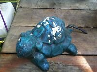 Vintage  Cement  Turtle Garden Art Statue Weathered Concrete Awesome