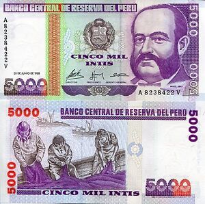 Peru 5000 intis banknote world paper money unc currency pick p137 image is loading peru 5000 intis banknote world paper money unc altavistaventures Image collections