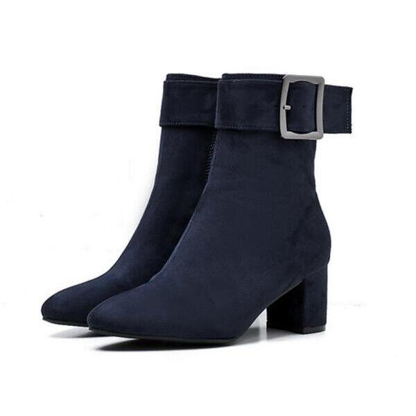 Botines botas talón talón talón cuadrado azul ante 6 cm como piel 1679  comprar barato