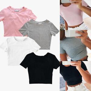 Women-Summer-Beach-Short-Sleeve-Slim-Gym-Sports-T-shirt-Casual-Blouse-Crop-Tops