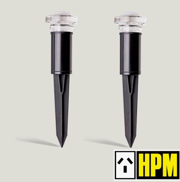 2 x HPM 12V Mini Dome Garden Bollard Path Lights Black Low Voltage DIY