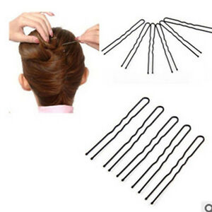 50pcs-6cm-Hair-Waved-U-shaped-Bobby-Pin-Black-Barrette-Salon-Grip-Clip-Hairpins