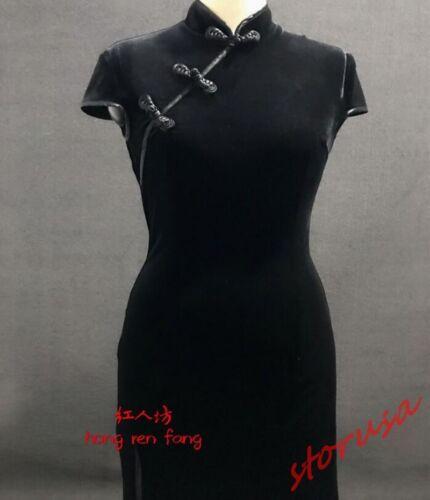 stile velluto cheongsam farsetto slim in chiffon cinese in vestibilità corto in Donna PpEwq