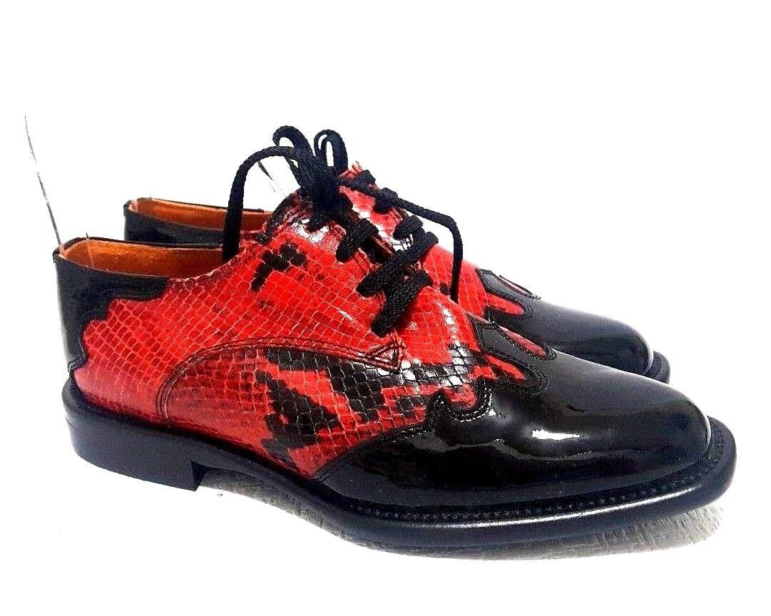 Tino Lanzi Cuero Italiano Italiano Italiano Para Mujer Oxford Rojo Negro Zapatos Talla 37  hermoso