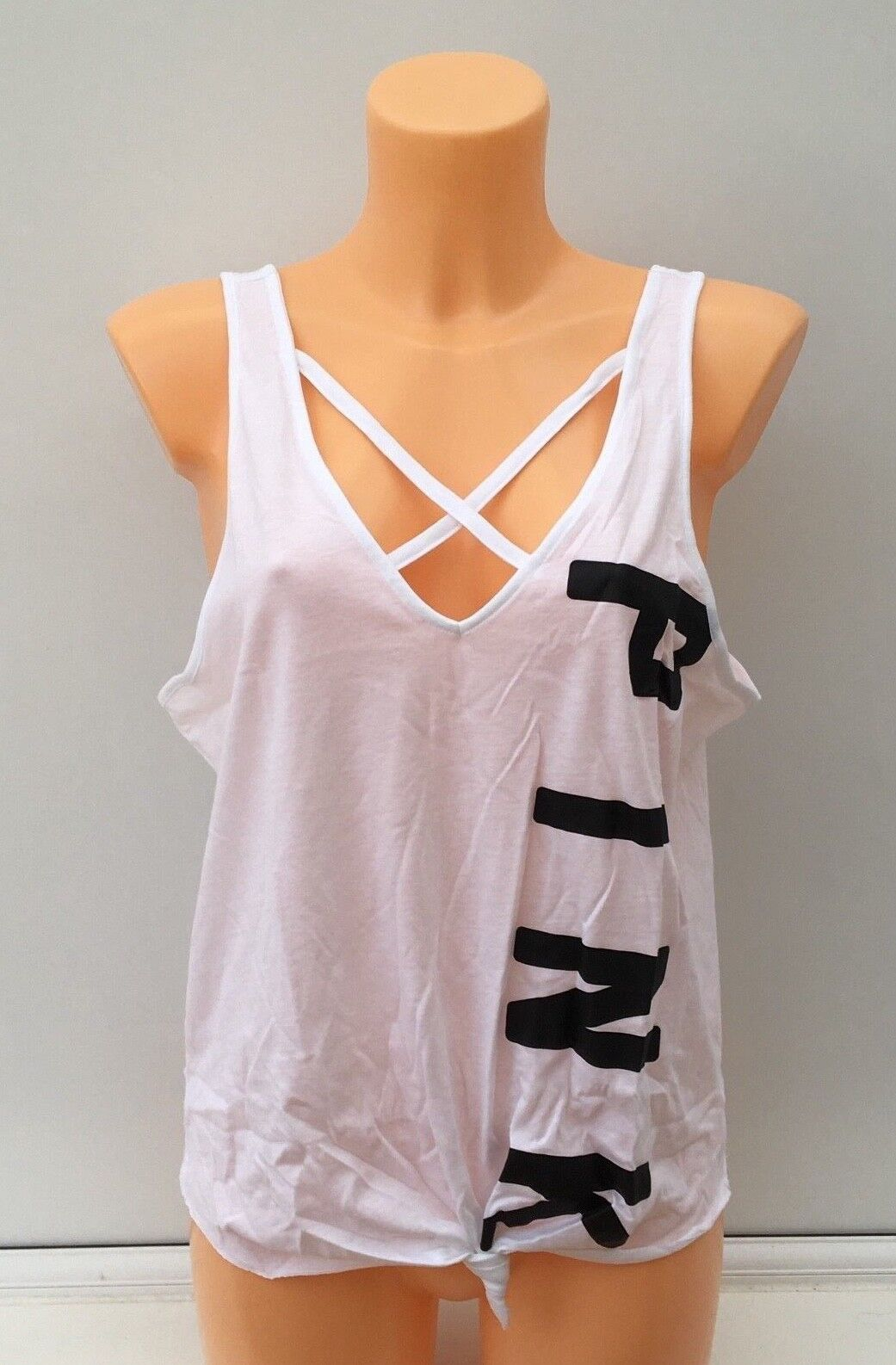 VICTORIA'S SECRET VS PINK Graphic Sleeveless Knotted Tee in White Size L BNIB
