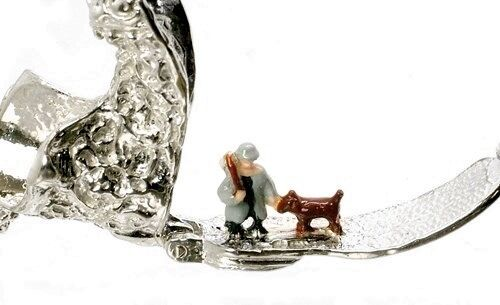 STERLING SILVER LARGE OPENING ONE MAN /& HIS DOG BOOT CHARM