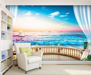 Details About 3d Ocean Sea Beach 710 Wallpaper Mural Wall Print Wall Wallpaper Murals Us Lemon