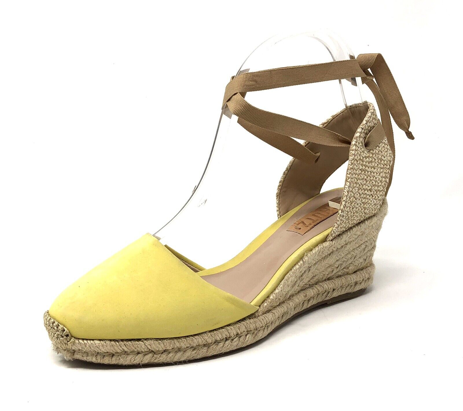 SCHUTZ Espadrille Yellow Tan Beige Nude Platform Wedge Lace Up  SZ 7