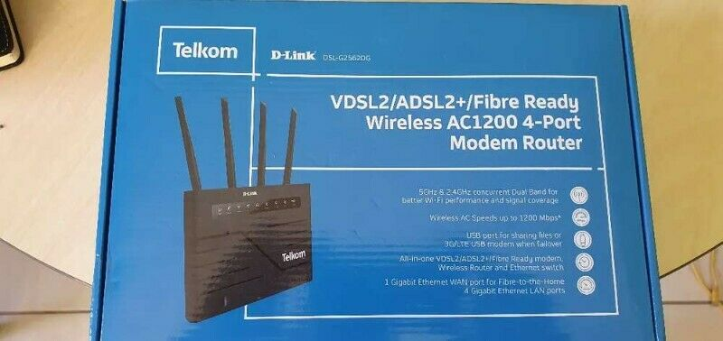 Telkom D-Link Dual Band, Wireless Router G25620G/VDSL2/ADSL2 and Fiber ready AC1200