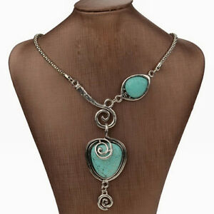 Women-039-s-Vintage-Ethnic-Exotic-Silver-Heart-Collar-Statement-Turquoise-Necklace-W