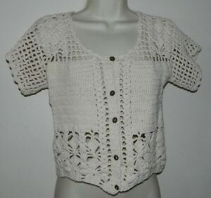 Women Handmade Crochet Short Sleeve Ivory Casual Work Cardigan