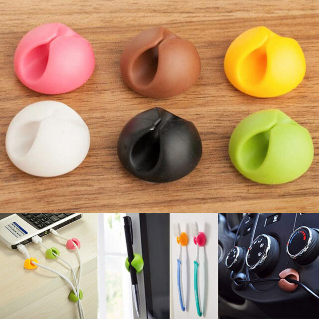 6X Cable Drop Clip Desk Tidy Organiser Wire Cord Lead USB Charger Holder FixerG$