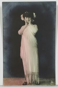 Rppc-Lovely-Lady-Fringed-Dress-Hand-Tinted-Real-Photo-c1907-udb-Postcard-O6