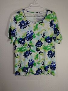 WHITE-STAG-WOMENS-Short-Sleeve-Top-Shirt-SIZE-XXL-20-Blue-Green-on-White-Floral