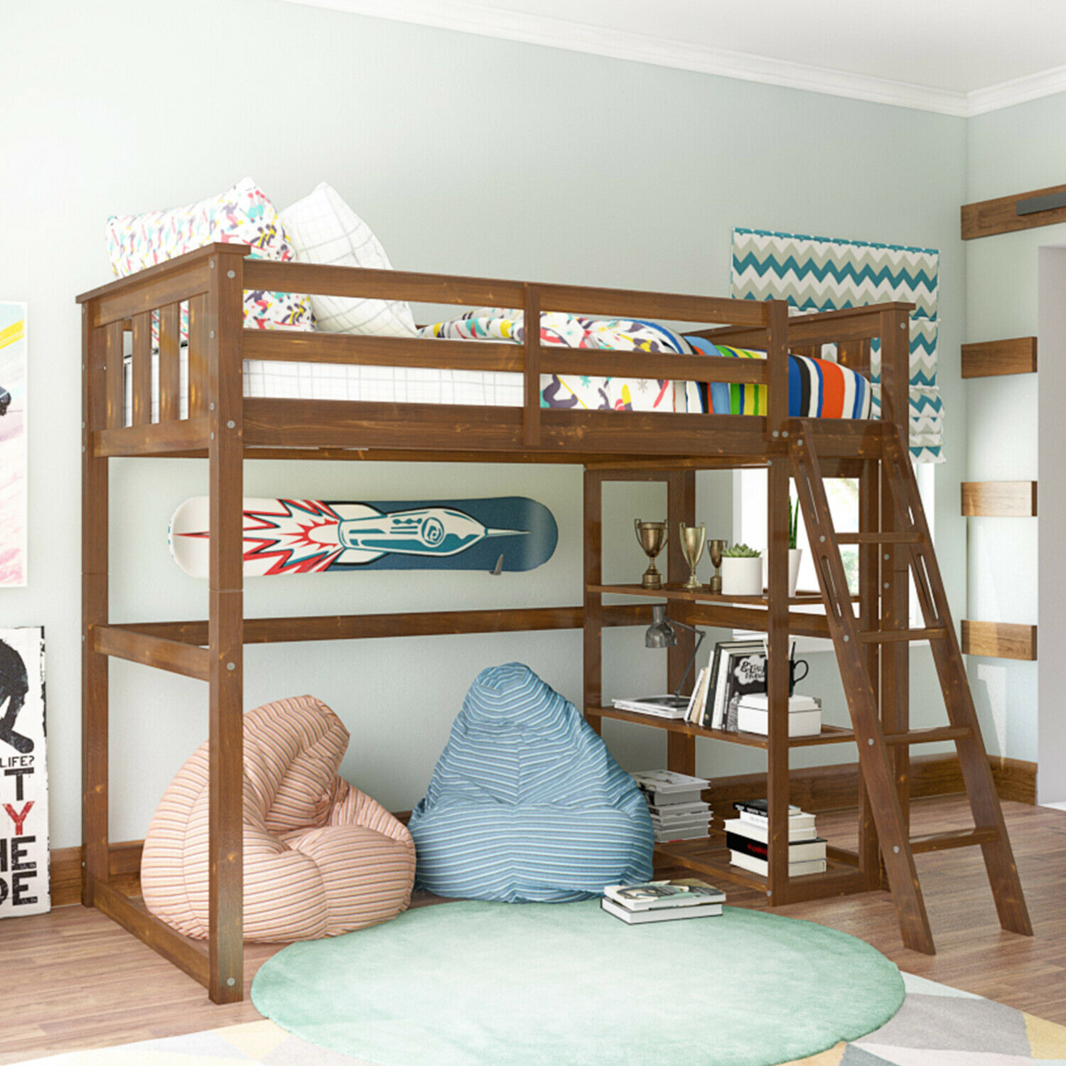 Picture of: Twin Over Twin Bed Wooden Bunk Bed Space Saver Teen Bedroom Easy To Climb Ladder For Sale Online Ebay