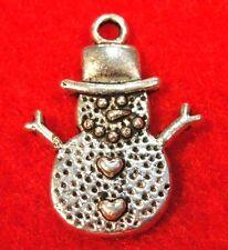 10Pcs. Tibetan Silver SNOWMAN Christmas Charms Pendants Earring Drops CH41