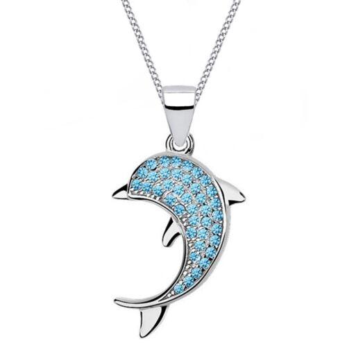 Damen Halskette Zirkonia Delfin Anhänger 925 Echt Sterlingsilber Geschenkbox Z64