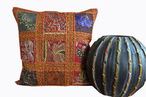 Indian-Handmade-16X16-zari-Cotton-Hippie-Bohemian-Sofa-Cushion-Cover-Home-Decor