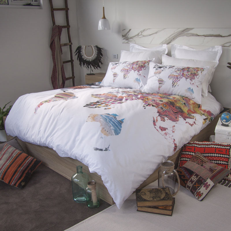 Retro Home World Map Australia Quilt Doona Cover Set - SINGLE DOUBLE QUEEN KING