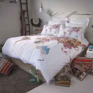 Retro Home World Map Australia Quilt Doona Cover Set - SINGLE DOUBLE ...