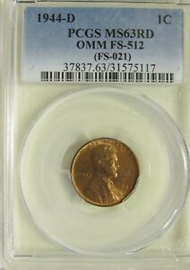 1944 Lincoln Cent MS65RD PCGS 65 Red Mint State Up to 12 available all GEMS