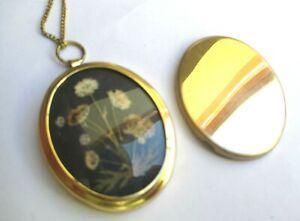 Collier Rare Médaillon Pendentif Reliquaire Couleur Or Fleurs Bijou Vintage 5251