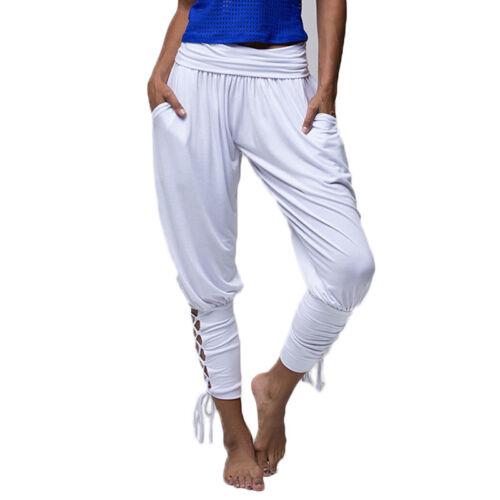Damen Dünnes Bein Harem Hosen Pumphose Baggy Sporthose Yoga Haremhose Sommerhose