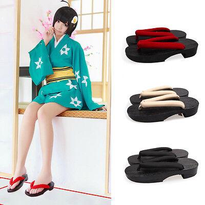 Women Japanese Flat Geta Clog Flip-flop Kimono Solid Wood Slipper Sandal Cosplay