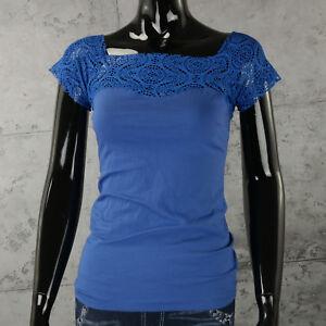Blu Eletr Donna Maglietta Shirt Pizzo T Con Camicia Top Ricami cT1FKlJ